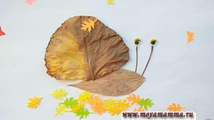 Осенняя аппликация из листьев «Улитка»