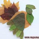 Аппликация из листьев Индюк