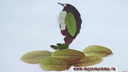 Аппликация из сухих листьев «Пингвин»