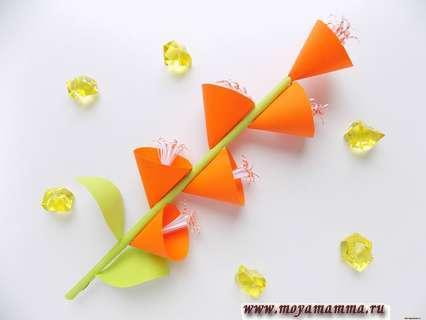 Как сделать ветку с цветами из бумаги