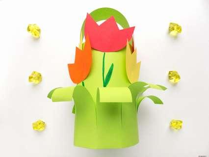 Корзинка с цветами из бумаги