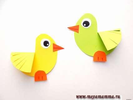Изготовление птичек. Аппликация Кормушка с птичками