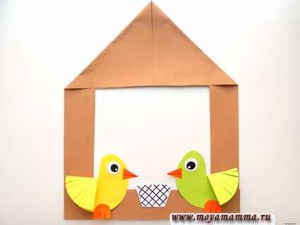 Аппликация Кормушка с птичками