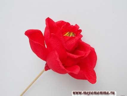 Как сделать розу из бумаги с конфетой. 5 лепестков для третьего ряда.