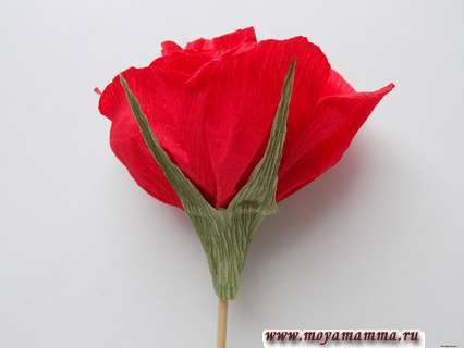 Как сделать розу из бумаги с конфетой. Приклеивание чашелистиков.