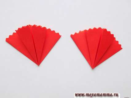 Гвоздика в технике оригами. Изготовление второй заготовки для гвоздики