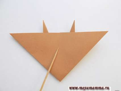 Бычок оригами. Поделка оригами с лицевой стороны