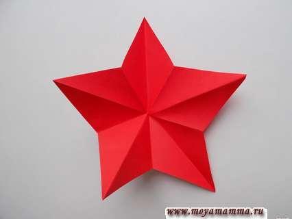 Объемная звезда из бумаги поэтапно. Разворачивание звезды.