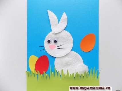 Объемная аппликация «Пасхальный кролик» из ватных дисков и бумаги