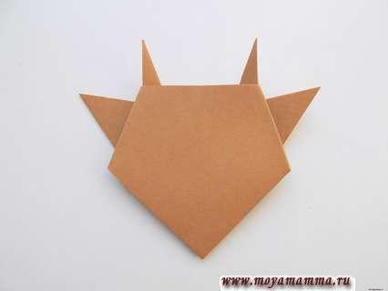 Бычок оригами. Формирование ушек