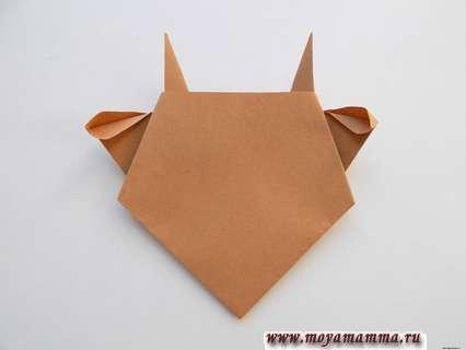 Бычок оригами. Расправление ушек