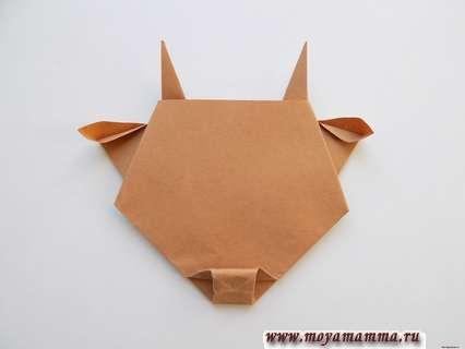 Бычок оригами. Формирование носа