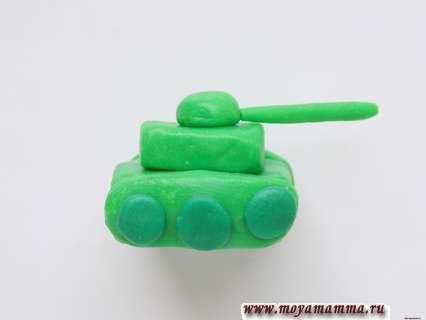Слепить танк из пластилина. Добавление башни