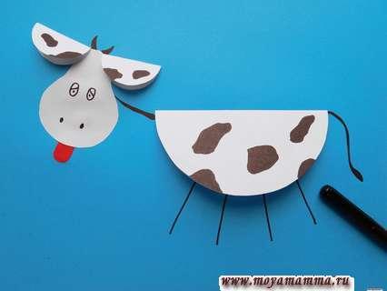 Рисование шеи и ног коровы