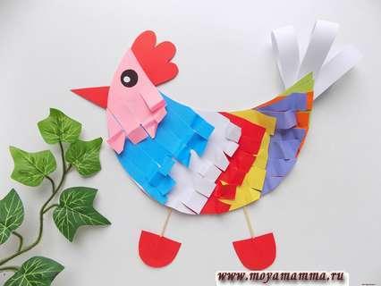 курица из цветной бумаги