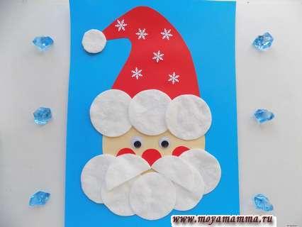 аппликация Деда Мороза из ватных дисков