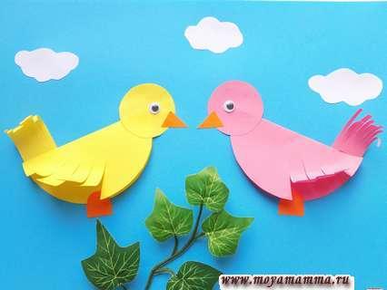 аппликация весенние птички