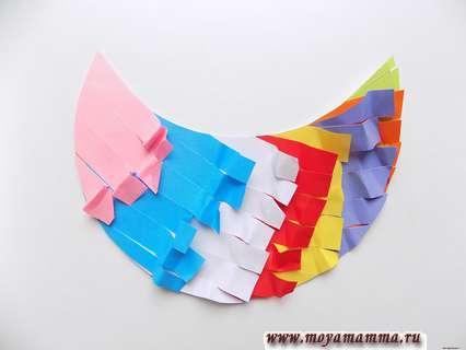 Курица из цветной бумаги. Разлохмачивание полосок