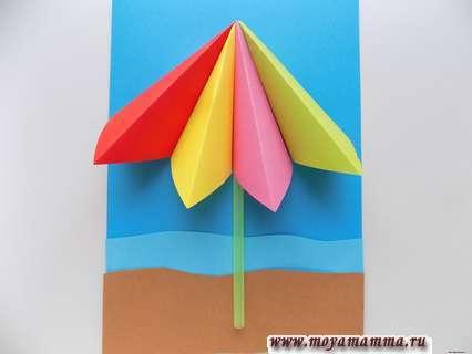 Аппликация пляж. Полоска моря и пляжа