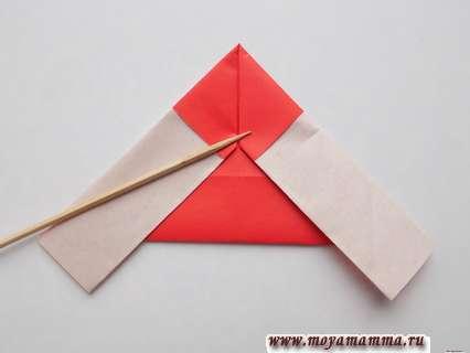 Дед мороз оригами. Загибание боковых сторон