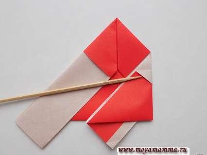Дед мороз оригами. Формирование рукавов