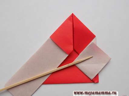 Дед мороз оригами. Рукав с правой стороны