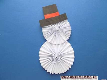 Снеговик из бумаги Приклеивание шляпы