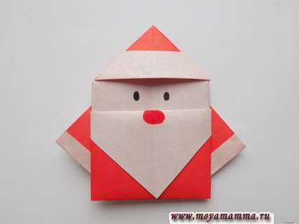 Как сделать Деда Мороза оригами из бумаги