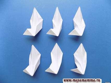 Снежинка оригами. 6 заготовок снежинки.
