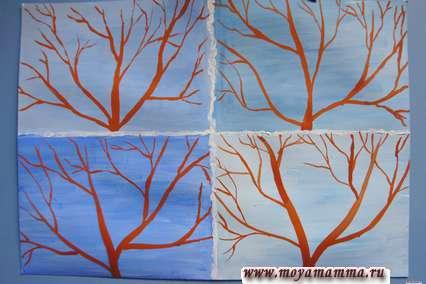 Рисунок 4 времени года. Рисование деревьев