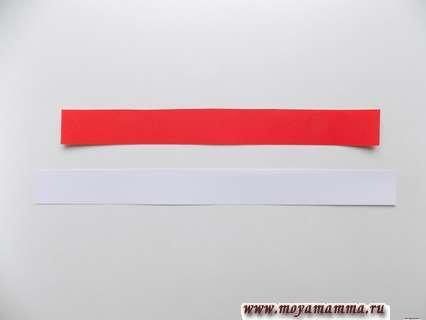 Полоски из белой и красной бумаги