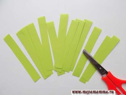 Разрезание пополам бумажных полосок
