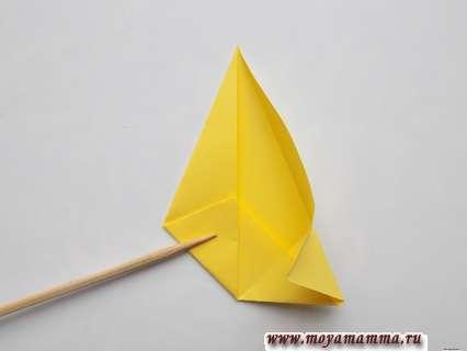 Разворачивание правой части треугольной заготовки