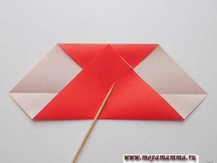 Сгибание нижней части треугольника