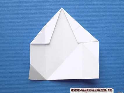 Снежинка оригами. Расправление всех сгибов кроме верхних