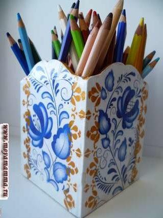 Украшение деревянной коробки для хранения карандашей