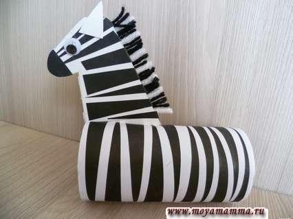 Зебра из втулки. Совмешение шеи с туловищем
