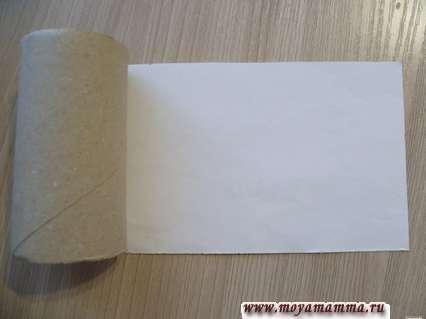 Картонная втулка и белая бумага