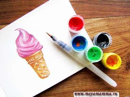 рисунок мороженое в рожке