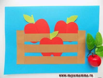 аппликация с яблоками из бумаги