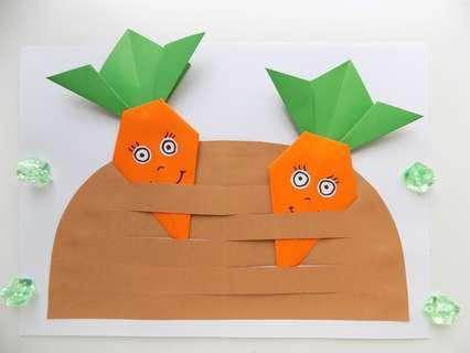 Объемная аппликация «Морковки на грядке»
