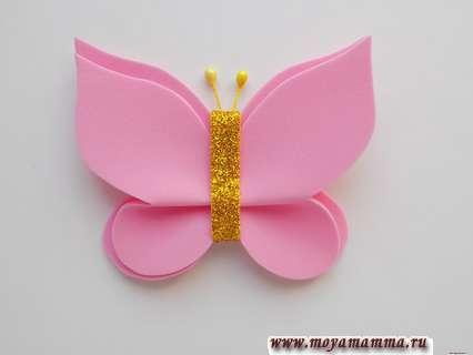 Заколка с бабочкой из фоамирана. Усики для бабочки
