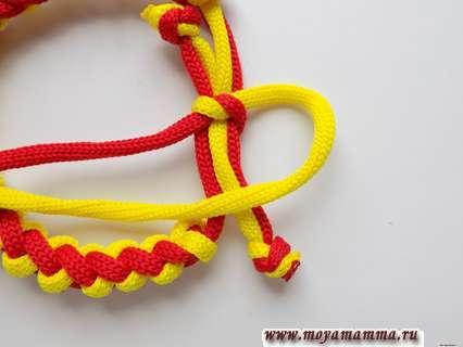 Браслет из двух шнуров. Плетение