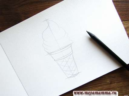 Мороженое в вафельном стаканчике