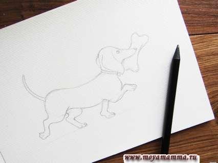 Прорисовываем детально все лапки и напоследок добавляем большую кость в пасть собаки.