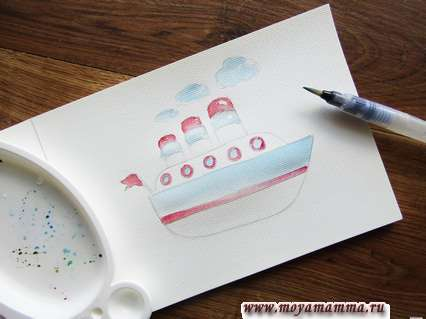 Соединяем красный с карминовым и наносим цвет на некоторые участки рисунка.