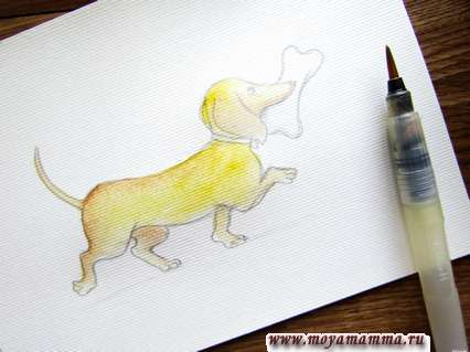 Наносим желтую и светло-коричневую акварель на шерсть пса.