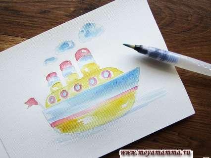 Желтой акварелью рисуем основные части корабля.