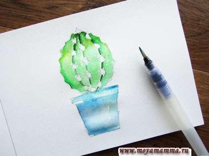 Прокрашиваем кактус более темным зеленым цветом.
