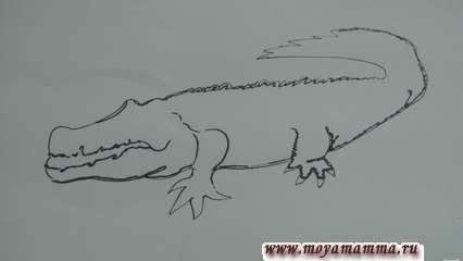 Как нарисовать крокодила. Более толстым лайнером или маркером продублируйте некоторые части.